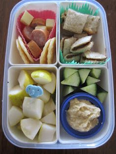 """Snackboxes"" - Their days worth of food, easily accessible for self-management, limits arguments, healthier eating, less food prep time throughout the day."