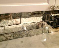 antique mirror tiles - Google Search Glass Backsplash Kitchen, Glass Kitchen, Kitchen Backsplash, Mirrored Tile Backsplash, Penny Backsplash, Glass Tiles, Rustic Backsplash, Beadboard Backsplash, Herringbone Backsplash