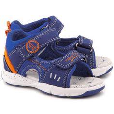 Aito - Niebieskie Skórzane Sandały Dziecięce - 4-00120-84