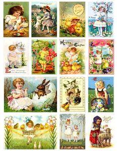 Vintage easter Postcards | Girls Vintage Easter Cards Digital Collage Sheet-girl, easter, easter ...