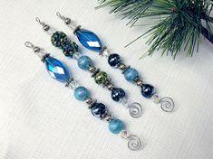 Blue and Aqua Beaded Icicle Ornaments  Blue by CJKingOriginals, $12.00