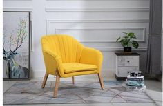 Mid Century Fabric Armchair Vintage Tub Chair Scandinavian Retro Accent Yellow Dining Room Sets, Dining Table Chairs, Classic Furniture, Mid Century Modern Furniture, Vintage Tub, Vintage Yellow, Fabric Armchairs, Chair Fabric, Single Chair