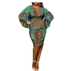 Latest African clothes casual dress for women, O-neck and V-back cloak sleeves knee-length dress African Dresses For Women, African Attire, African Wear, African Fashion Dresses, African Women, Casual Dresses For Women, African Clothes, Africa Fashion, Ethnic Fashion