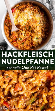 Einfache Nudelpfanne: Cremige One Pot Pasta mit Hackfleisch und Paprika One pot pasta with minced meat and bell pepper: aka the new pasta pan! This recipe makes a very quick and easy meal, perfect for a family and cooked in one pot! Beef Recipes, Vegetarian Recipes, Healthy Recipes, One Pot Recipes, Noodle Recipes, Simple Recipes, Family Recipes, Pasta Recipes, Soup Recipes