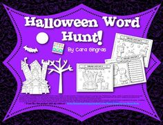 Halloween Word Hunt 12 games - 60 sight words covered $