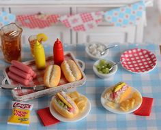 Your place to buy and sell all things handmade Miniature Crafts, Miniature Food, Miniature Dolls, Clay Miniatures, Dollhouse Miniatures, Target Toys For Girls, Mini Hot Dogs, Summer Barbecue, Tiny Food