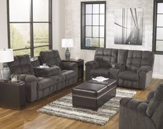 Acieona Contemporary Slate Fabric Living Room Set
