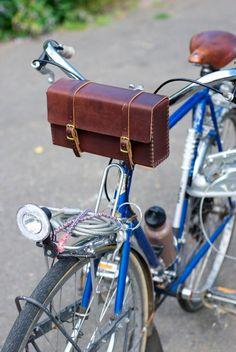 Handmade Leather Handlebar Bag. $150.00, via Etsy.