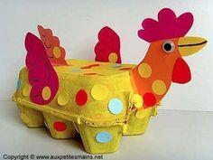 Egg carton rooster craft for children. Kids Crafts, Projects For Kids, Craft Projects, Arts And Crafts, Creative Crafts, Craft Ideas, Easter Art, Easter Crafts, Easter Eggs