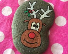 Hand Painted Beach Pebble Xmas Rudolph