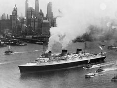 SS Normandie in New York Harbor Photographic Print at AllPosters.com