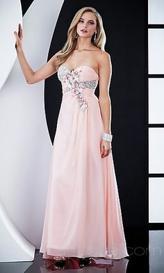 Oooooh light pink prom dress with diamonds and flowers- gorgeous!