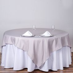 """90"""" Silver Premium Square Polyester Table Overlay Banquet Tables, Party Tables, Silver Wedding Decorations, Table Overlays, Chair Sashes, Gift Table, Square Tables, Chair Covers, Table Linens"""