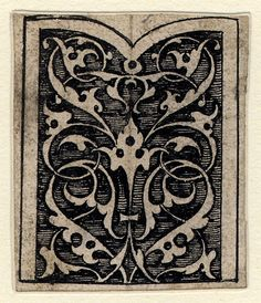 Panel of arabesque ornament, one of eleven designs for arabesque ornamental decoration, from the 'Jewellery Book'; rectangular panel with one side ending in a fish-tail shape, filled with pierced arabesques. Pen and black ink. Hans Holbein the Younger, circa 1532-1543