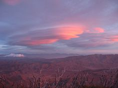 Sunrise from Monument Peak in the Laguna Mountains looking out over the Anza Borrego Desert San Diego County, Ca