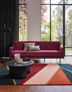 Sahara Burgundy 56105 Rug by Ted Baker at Rugs.ie - Only Designer Floral & Abstract Rugs for Contemporary Homes. Orange Carpet, Blue Carpet, Rugs In Living Room, Living Room Decor, Burgundy Living Room, Boho Home, Wall Carpet, Stair Carpet