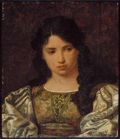 Eugenia: Head of a Roman Girl 1879 Elihu Vedder/1879 Oil on canvas 29.21 x 25.08 cm (11 1/2 x 9 7/8 in.) http://mfas3.s3.amazonaws.com/objects/SC173751.jpg