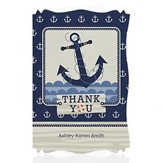 Ahoy - Nautical - Personalized Baby Shower Thank You Cards | BigDotOfHappiness.com