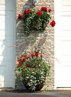 Front porch inspiration: Potted red flowers