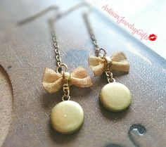 Bohemian tiny locket mesh bow earrings
