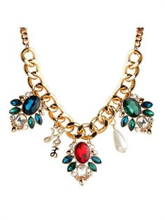 Appealing Geometric Assorted Color Gemstone Baroque Bib Necklace. StyleLoveStore.com-Cheap&High Quality Women's Rings,Necklace,Earrings And More Jewelry Online