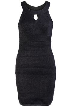 Black Sleeveless Hollow Bandage Bodycon Dress 32.67