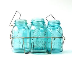 Antique Aqua Ball Perfect Mason Jars with Canner by marybethhale