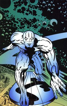 Drawing Marvel Comics The Silver Surfer by Jack Kirby. Old Comic Books, Marvel Comic Books, Comic Book Characters, Comic Book Heroes, Comic Character, Marvel Characters, Bd Comics, Marvel Comics Art, Comic Artist