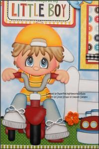 2 Premade 12x12 Paper Pieced Scrapbook Pages Little Boy -By Babs