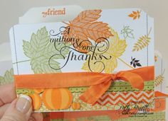 www.PattyStamps.com - Magnificent Maple stamp on an envelope punch board File Folder Thank You card.