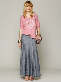 CP Shades Worker Stripe Chambray Maxi at Free People Clothing Boutique