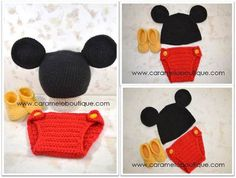 Baby Boy Mickey Mouse SetCrochet Mickey Mouse by CarameloBoutique