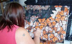 Me painting the Swarm in my Studio