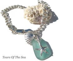 sea glass ankle bracelet with starfish and seashell made by my friend Christine (Tears of the Sea)