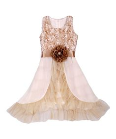 Take a look at the Mocha & Crème Rosette-Bodice Dress - Toddler & Girls on #zulily today!