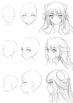 anime girl head drawing – – Cheveux – Dessin - Anime World 2020 Manga Drawing Tutorials, Manga Tutorial, Drawing Techniques, Drawing Sketches, Drawing Tips, Drawing Lessons, Drawing Heads, Drawing Faces, Wie Zeichnet Man Manga