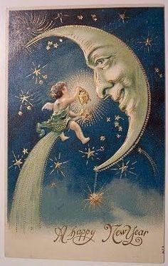 Vintage Man in Moon New Year Postcard Images Vintage, Vintage Pictures, New Year Wishes, New Year Card, Vintage Greeting Cards, Vintage Christmas Cards, Vintage Holiday, Vintage Happy New Year, New Year Postcard