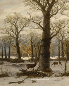 Caesar Bimmermann Winter Forest with Deer, painting Authorized official website