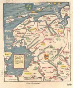 De zestiende-eeuwse kaart van de Zuiderzee en Noordoost-Nederland uit het boek van Sebastiaan Münster.foto Nieuwland Erfgoed Centrum