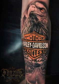 Hd Tattoos, Biker Tattoos, Motorcycle Tattoos, Badass Tattoos, Sleeve Tattoos, Tattoo Harley, Harley Davidson Tattoos, Harley Davidson Art, Adler Tattoo