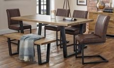 Julian Bowen Brooklyn Rustic Oak Dining Table and 4 Brown Faux Leather Chair and 1 Bench - CFS Furniture UK Dining Table Online, Oak Dining Table, Extendable Dining Table, Dining Room Chairs, Moving Home, Furniture Assembly, My Furniture, Brooklyn, Rustic
