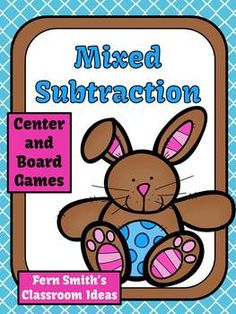 Mixed Subtraction EASTER Center and Board Games for 1.OA.6 and 2.OA.2 $Paid #TPT