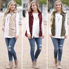Warm & Cozy Fall Vest in Khaki, Burgundy, and Olive paired with tan booties and distressed skinny jeans from Cousin Couture.