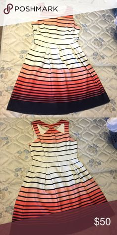 Stunning Fit & Flare Dress I absolutely ADORE this dress! -- EUC -- white, pink & coral ombré design with navy accents -- zip back -- measures approximately 37 inches shoulder to hem, 16 inch waist, 21.5 inch skirt -- body is 95% polyester 5% spandex, lining 100% polyester Dresses