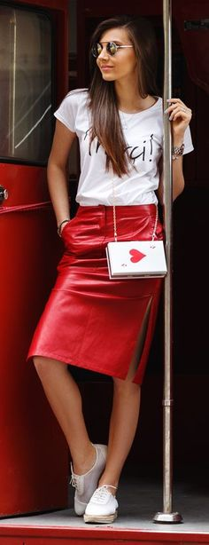 Red Leather Skirt #street #style #fashion