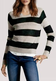 ++ Colorful Striped Round Neck Cotton Blend Pullover
