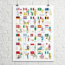 Das liebevoll gezeichnete Flaggen Poster der Illustratorin Margot Keppler ist ein echtes Highlight in jedem Kinderzimmer. Die wundervollen Kinderfiguren sprechen Jungen und Mädchen gleichermaßen...
