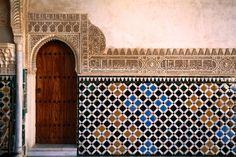 Tilework in Patio de los Arrayanes in Palacio Nazaries of Alhambra. Patio de los Arrayanes, Granada