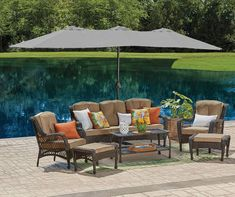 Wilson & Fisher Triple Vent Market Patio Umbrellas, at Big Lots. Patio Dining, Patio Table, Patio Bench, Dining Table, Outdoor Seating, Outdoor Decor, Outdoor Ideas, Outdoor Sofa, Market Umbrella