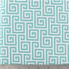 Turquoise Geometric Cotton 100 Cotton Fabric for by RetroModChic, $4.95